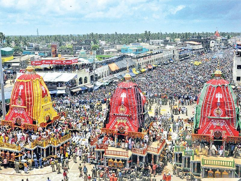 Three chariots of Lord Jagannath, Balabhadra and Subhadra during the annual rath yatra in Puri. (PTI Photo)