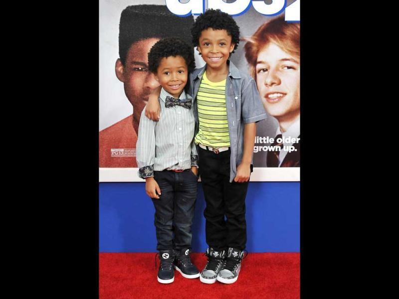 Actor Kaleo Elam and his brother Makhari Elam attend the premiere of Grown Ups 2 at the AMC Loews Lincoln Square in New York. AP