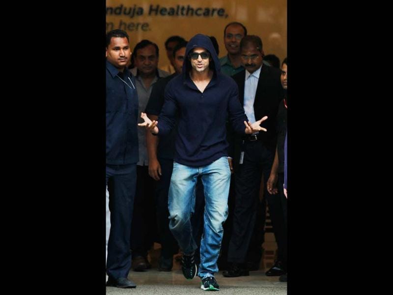 Hrithik Roshan comes out of Hinduja hospital where he was admitted for a minor brain surgery. (Photo: Satish Bate)