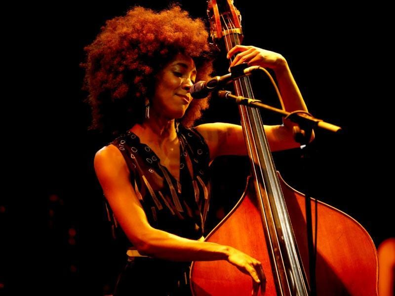 US jazz bassist and singer Esperanza Spalding performs on stage at the Nice Jazz Festival in Nice, southeastern France. (AFP Photo)