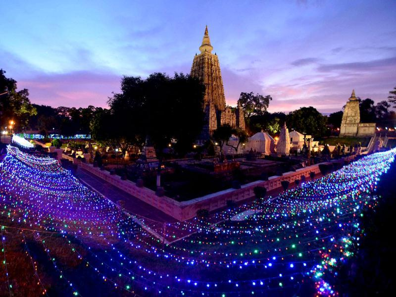 The illuminated Mahabodhi temple, one of the sites of the serial blasts, in Bodhgaya. (PTI Photo)
