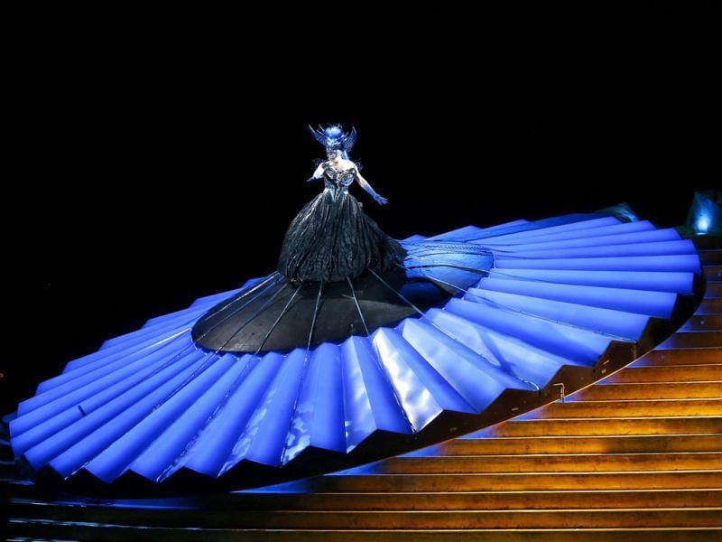 Singers Ana Durlovski (L), as the Queen of the Night, and Gisela Stille, as Pamina, perform during a dress rehearsal for the opera 'Die Zauberfloete' at Lake Constance in Bregenz. (Reuters Photo)