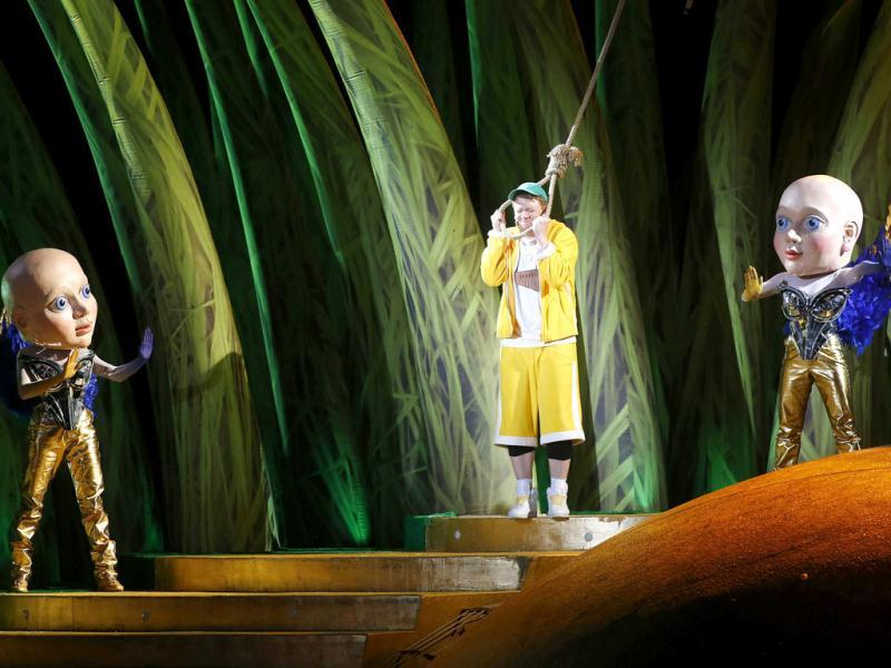 Singer Daniel Schmutzhard, as Papageno, performs during a dress rehearsal for the opera 'Die Zauberfloete' by Mozart at Lake Constance in Bregenz. (Reuters Photo)