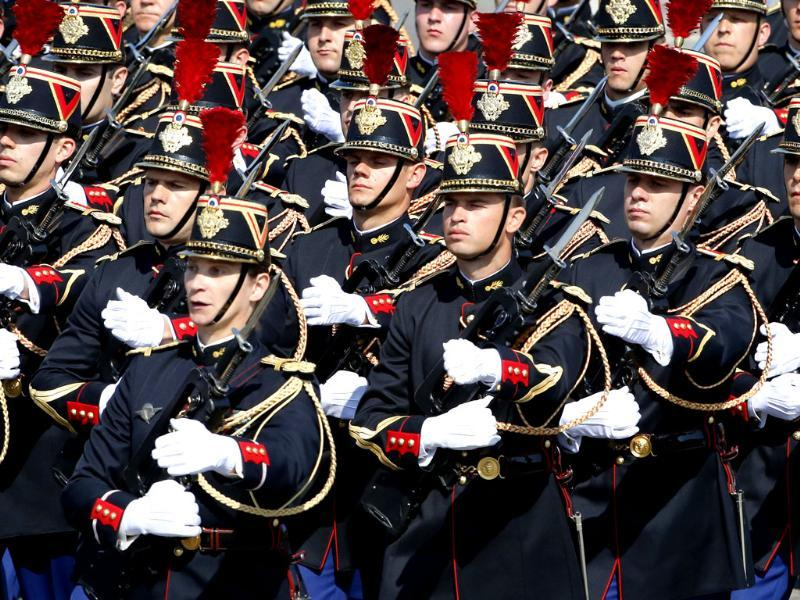 Republican Guards march during the Bastille Day parade in Paris. (AP Photo)