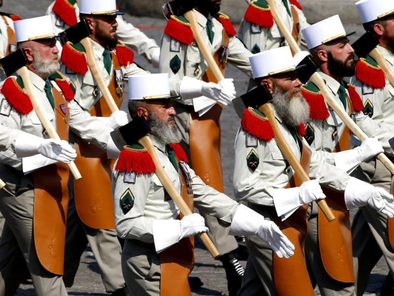 Soldiers from the Foreign Legion march during the Bastille Day parade in Paris. (AP Photo)