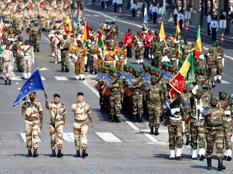 Malian troops march on the Champs Elysees during the Bastille Day parade in Paris. (AP Photo)