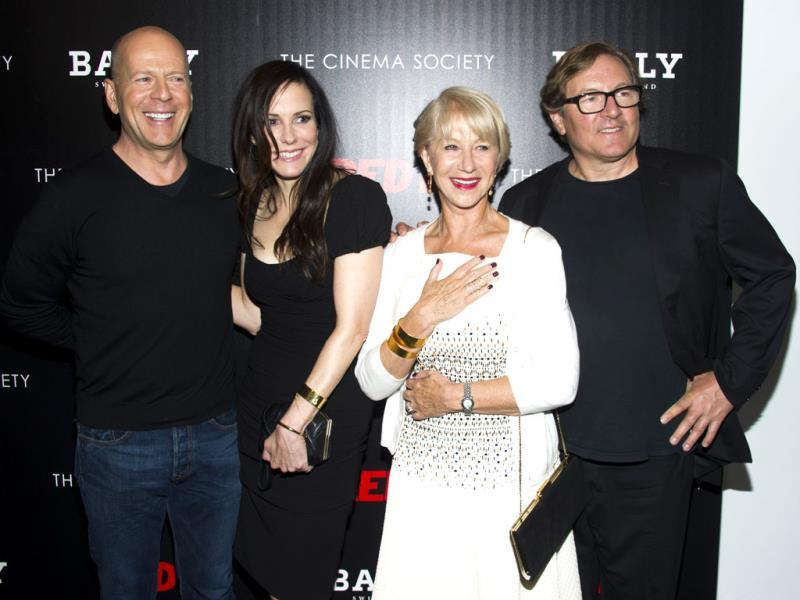 Bruce Willis, from left, Mary-Louise Parker, Helen Mirren and producer Lorenzo di Bonaventura attend a screening of Summit Entertainment's