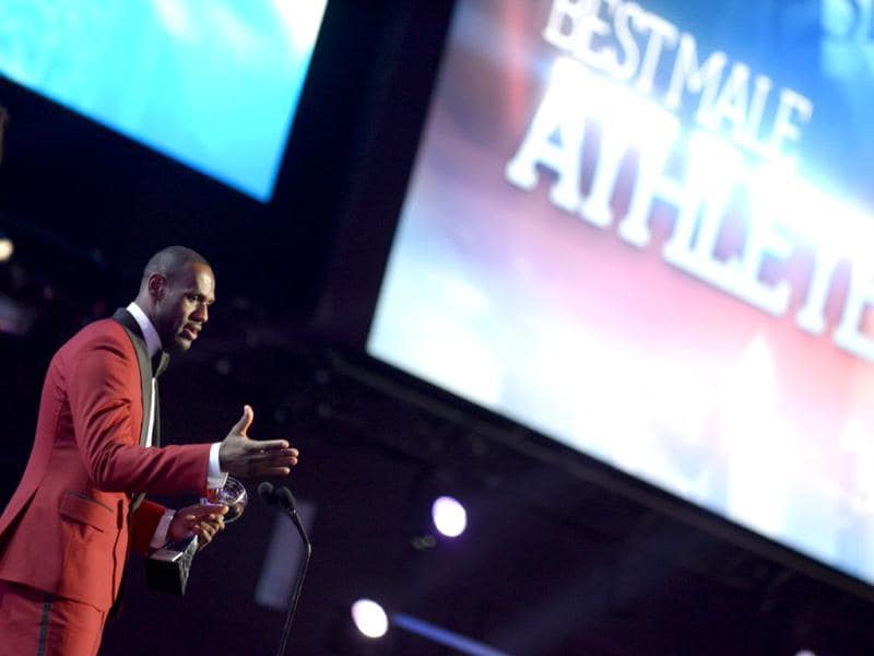 LeBron James accepts the best male athlete award at the ESPY Awards on Wednesday, July 17, 2013, at the Nokia Theater in Los Angeles. AP