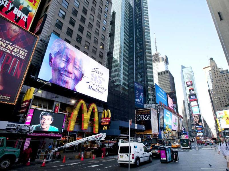 An electronic billboard announces Nelson Mandela's 95th birthday in New York's Times Square. AP Photo