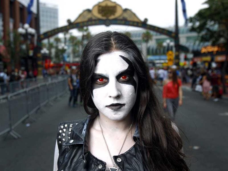 Jessica Monterio, dressed as Lobo from DC Comics, poses for a during Comic-Con in San Diego. (AP Photo)