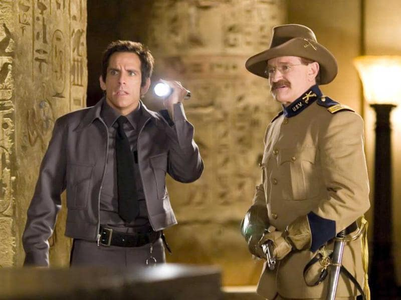 Williams played the wax model of Theodore Roosevelt in the Night At The Museum; With Ben Stiller.