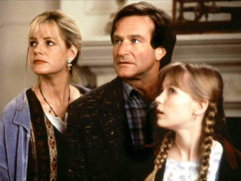 Williams with on-screen family in hit fantasy-thriller Jumanji.