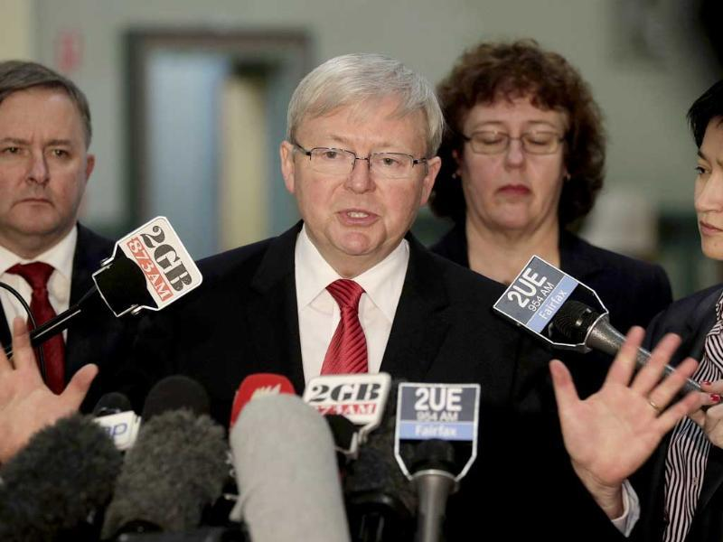 Australia's prime minister Kevin Rudd speaks to the media at a press conference in Sydney, Australia. Lawmakers in Rudd's Labor Party agreed at a meeting today with his proposal to tighten rules dictating how a prime minister can be ousted by a government. AP Photo