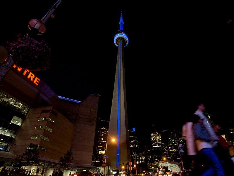 The CN Tower is lighted blue to celebrate the birth of the royal baby in Toronto. AP Photo