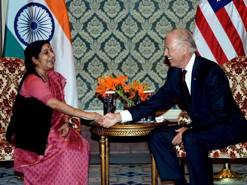 US vice president Joe Biden shakes hands with the leader of the opposition Sushma Swaraj during a meeting in New Delhi. AFP