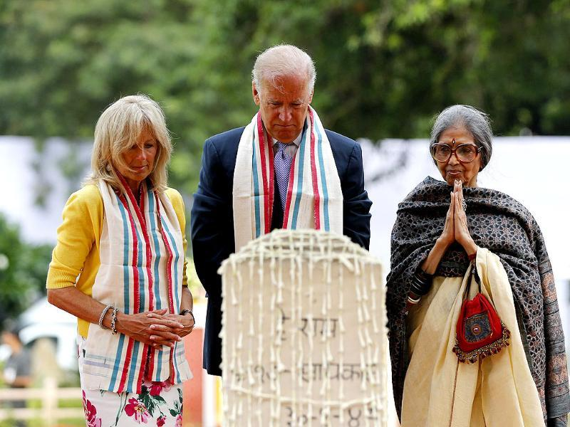 US vice president Joe Biden, his wife Jill, and Tara Gandhi, the granddaughter of Mahatma Gandhi, pay homage at the Mahatma Gandhi memorial at Gandhi Smriti in New Delhi. Reuters