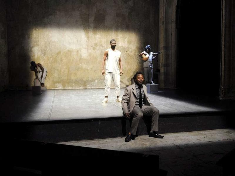 Burkina Faso's actors perform a scene from the play