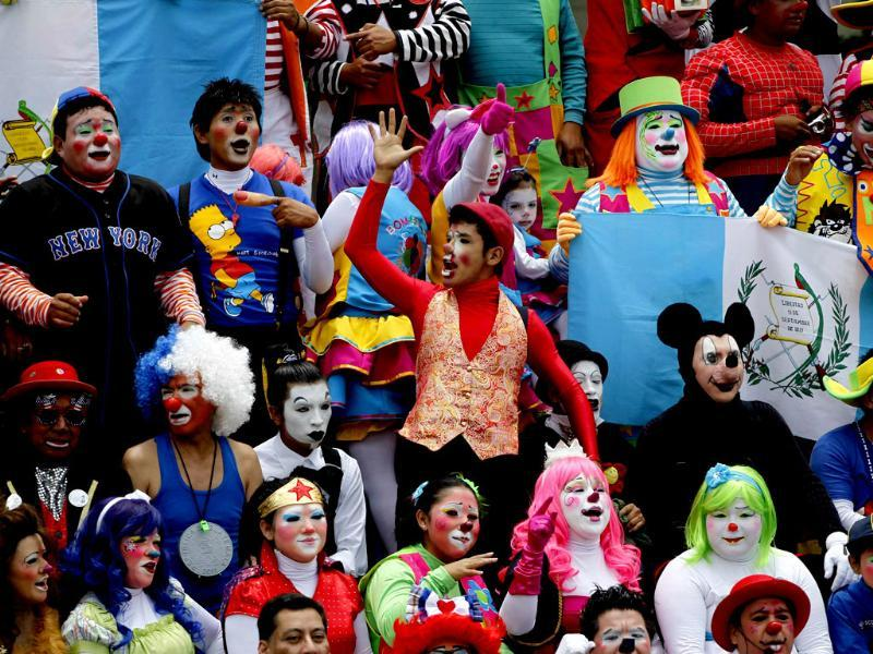 Clowns gather for a group photo after a parade to inaugurate the 5th Annual Clowns' Convention in Guatemala City. Reuters