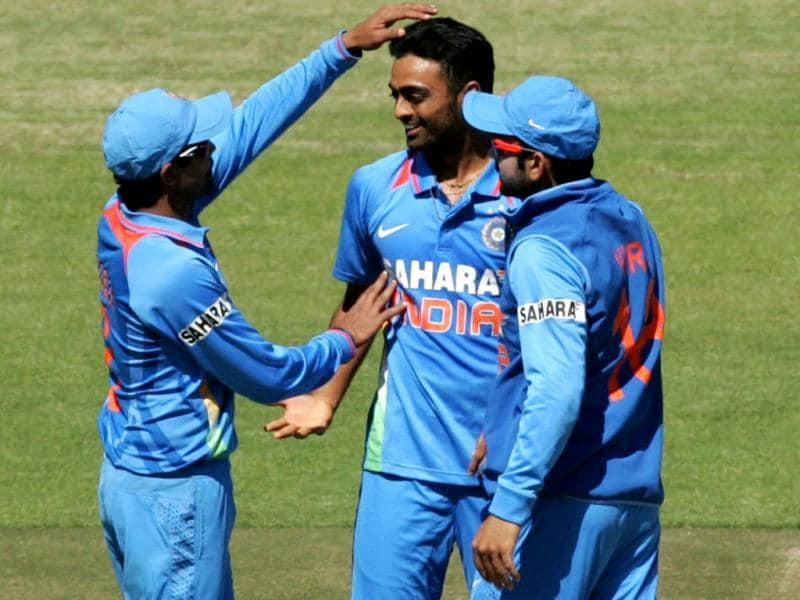 Shami Ahmed celebrates a wicket with team mates during the first of five ODI series match between India and Zimbabwe at the Harare Sports Club . (AFP photo)