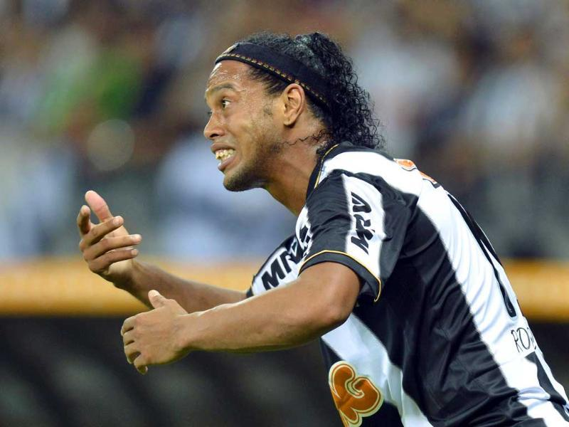 Ronaldinho of Brazil's Atletico Mineiro reacts during the Copa Libertadores second leg final soccer match against Paraguay's Olimpia in Belo Horizonte. (Reuters)