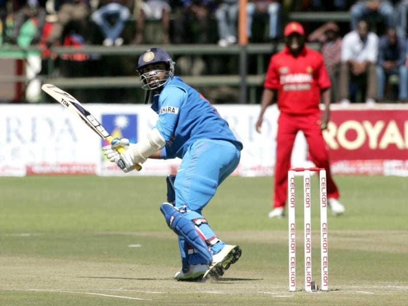India's Dinesh Karthik bats during the second ODI against hosts Zimbabwe at the Harare Sports Club, in Harare. (AFP Photo)