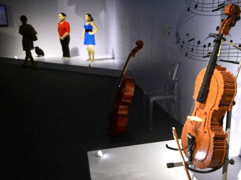 A violin made out of Lego bricks. (AFP Photo)