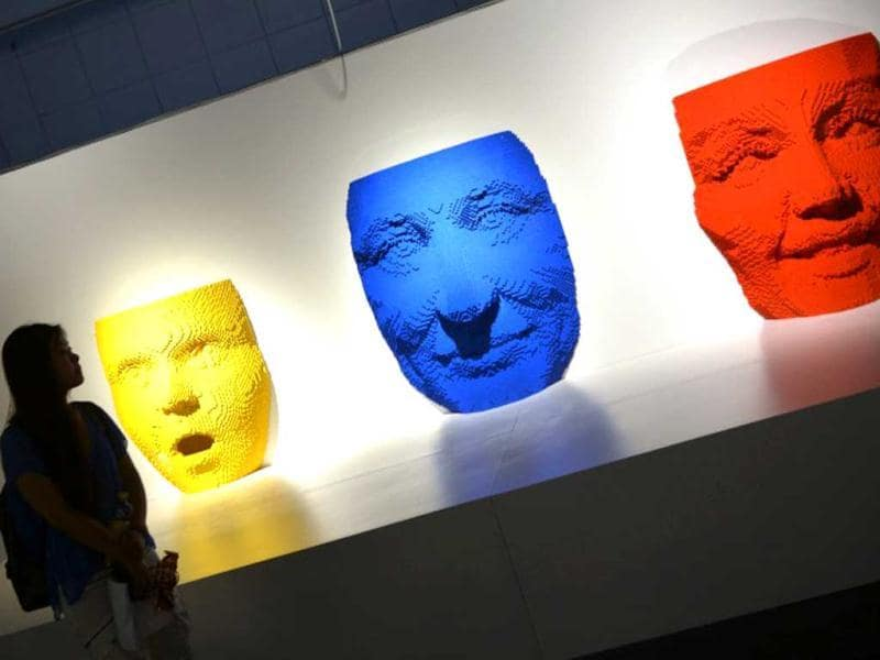 Three sculptures depict different moods. (AFP Photo)
