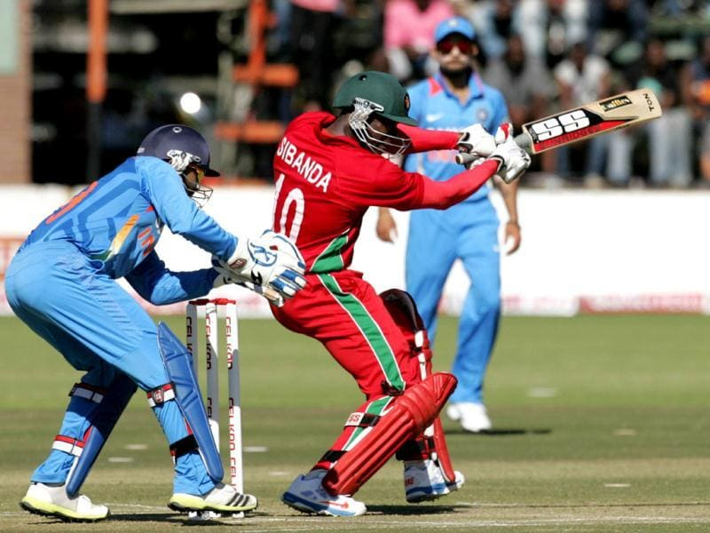 Zimbabwe's Vusimuzi Sibanda plays a shot during the second ODI against India at the Harare Sports Club. (AFP Photo)