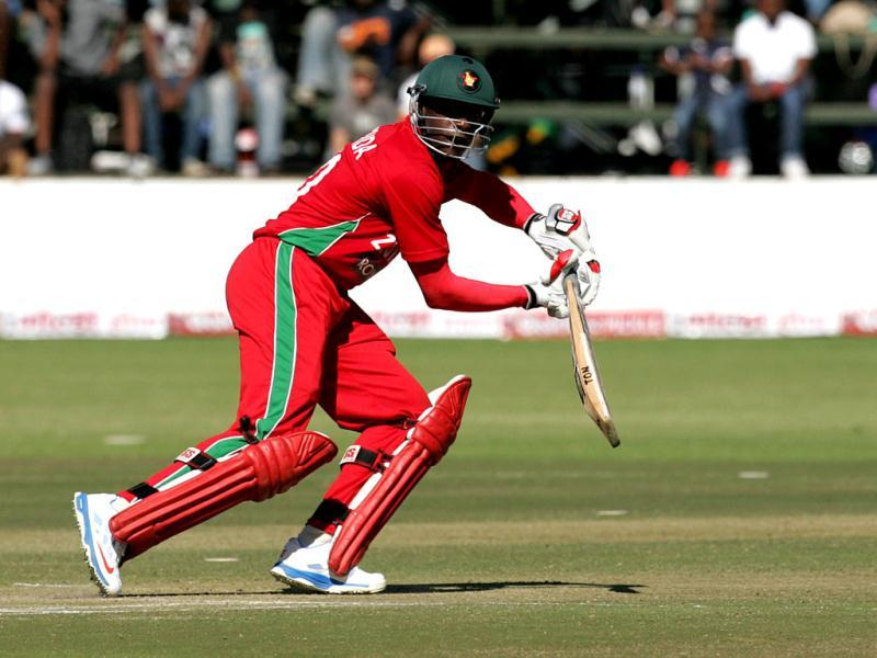 Zimbabwe's Vusimuzi Sibanda in action during the second ODI against India at the Harare Sports Club. (AFP Photo)