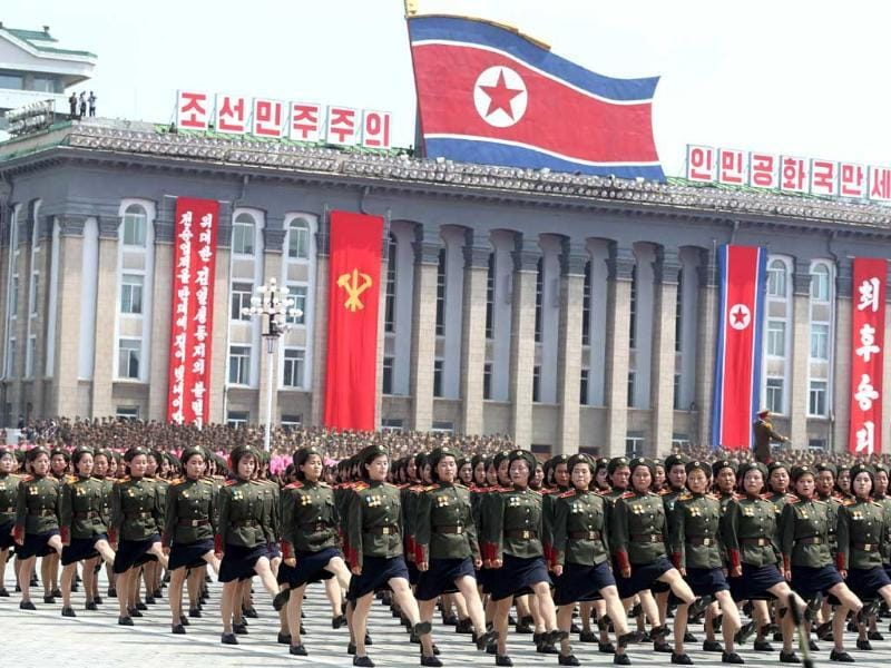 North Korean military soldiers march past the Kim Il Sung Square during the mass military parade in Pyongyang, North Korea. (AP Photo)