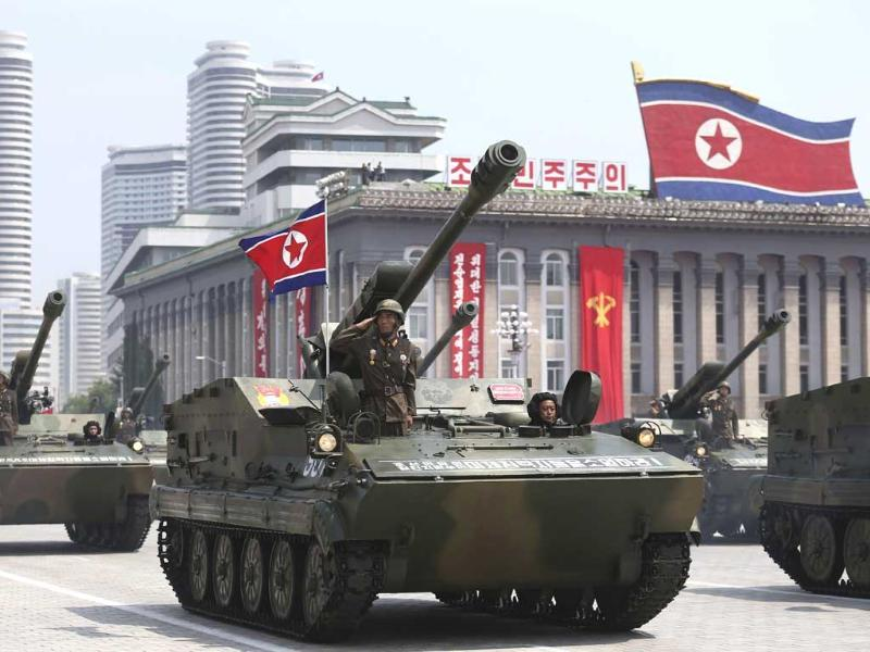 Tanks march past the Kim Il Sung Square in a painstakingly choreographed military parade to celebrate the 60th anniversary of the Korean War. (AP Photo)