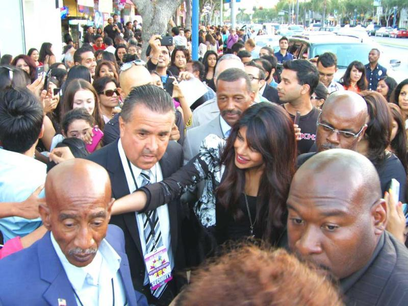 The desi girl shakes hands with some of her desi fans in LA.