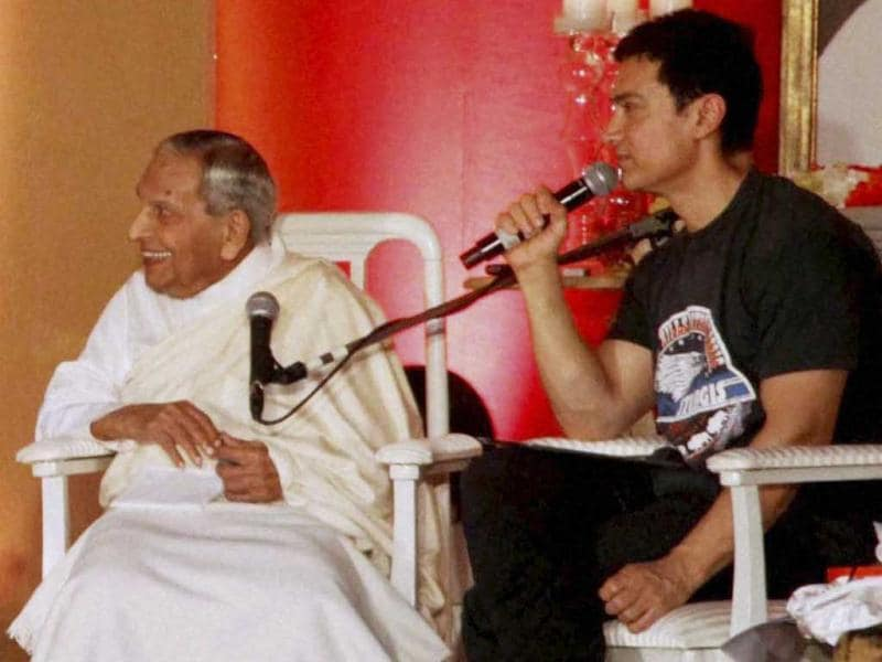 Aamir Khan hosts an interactive session with Dalai Lama, spiritual leader Dada JP Vaswani. (PTI Photo)