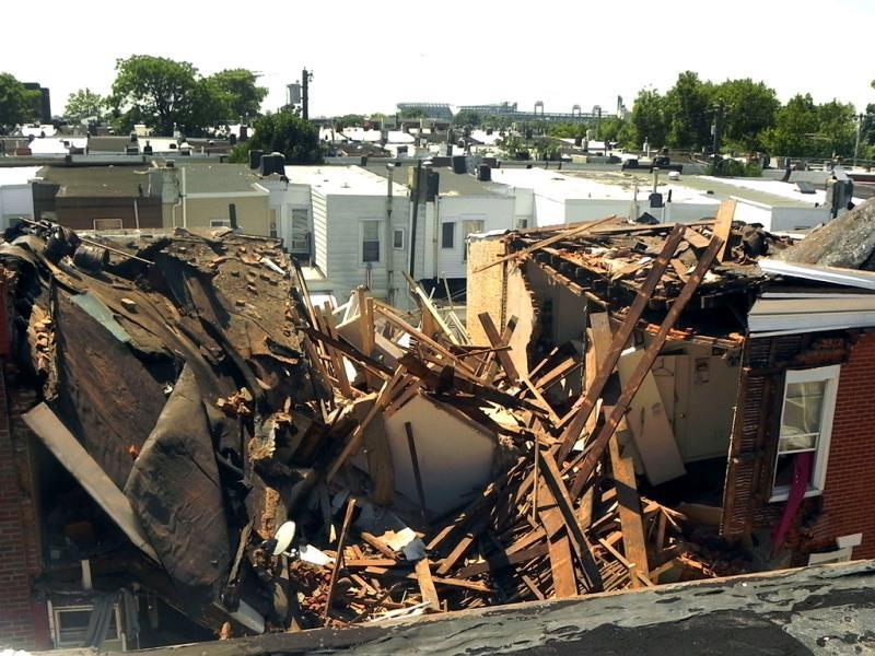 A view of a houses collapsed from 426-430 Daly Street following an explosion in South Philadelphia. (AP Photo)