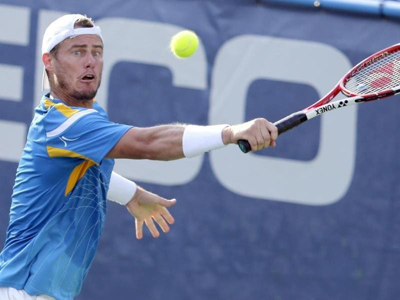 Lleyton Hewitt readies for a return to Ryan Harrison at the Citi Open tennis tournament in Washington. Harrison won 6-3, 7-5. (AP Photo)