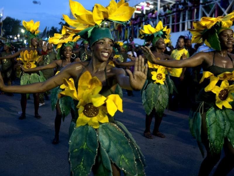 Revelers parade during Carnaval des Fleurs, or Carnival of Flowers celebrations in Port-au-Prince, Haiti. (AP Photo)