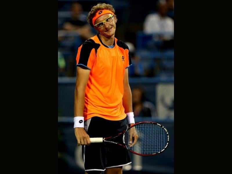 Denis Istomin of Uzebekistan reacts to a lost point against Sam Querrey during the Citi Open at the William HG FitzGerald Tennis Center in Washington, DC. (AFP Photo)