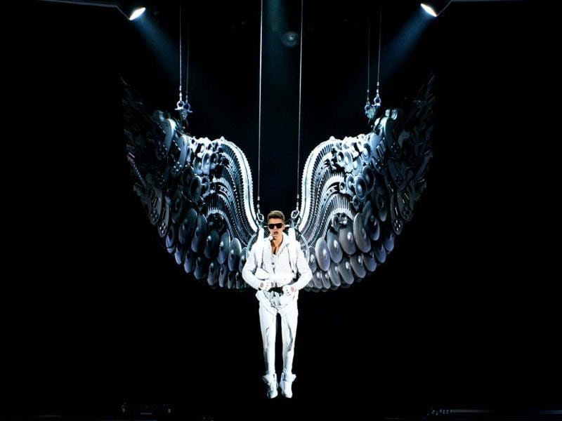 Singer Justin Bieber performs at the Prudential Center in Newark, New Jersey. (AP Photo)