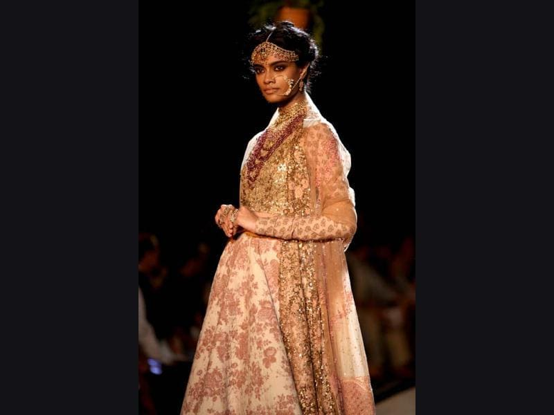 A model dressed as a bride in a Sabyasachi outfit. (Photo/Rajesh Kashyap)