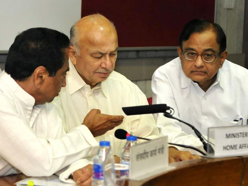 Kamal Nath Parliamentary Affairs Minister with Home Minister Sushilkumar Shinde and finance Minister P Chidambaram chair all party meeting of the Leaders of Political Parties in both houses of Parliament on the ensuing Monsoon Session, 2013 (14th Session of Fifteenth Lok Sabha and the 229th Session of the Rajya Sabha) At Conference Hall -G074, Parliament Library Building in New Delhi, India on Thursday.