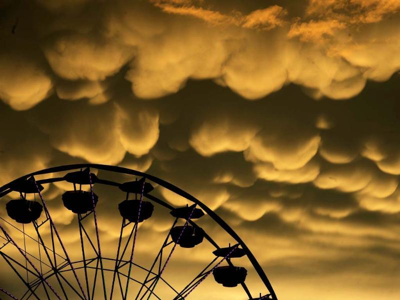 Mammatus clouds move over the Fredericksburg Agricultural Fair after a round of thunderstorms passed through the area. (AP Photo)