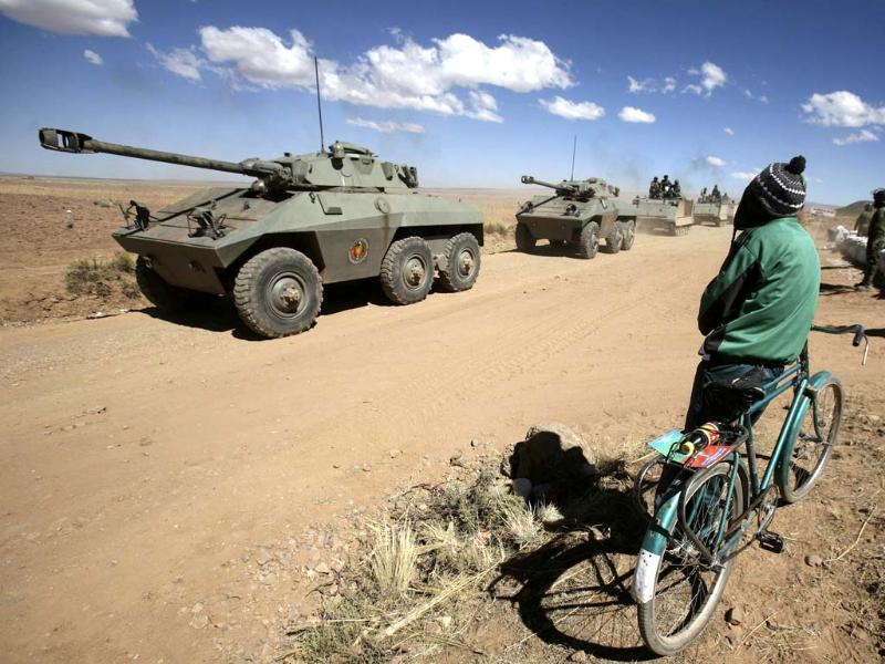 Bolivia's armored vehicles participate in the military exercise called
