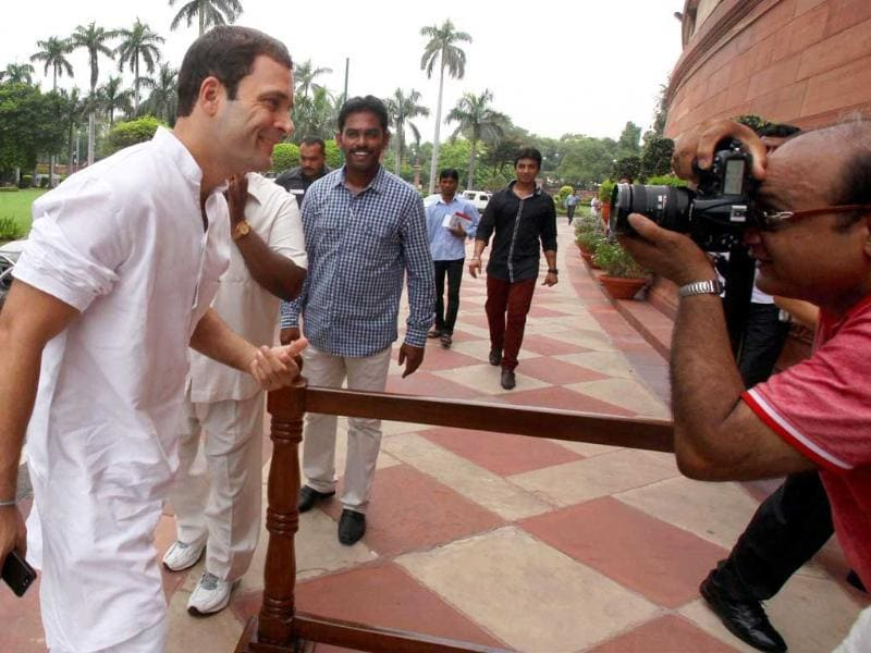 Congress vice president Rahul Gandhi arrives at Parliament House on the first day of the Monsoon session in New Delhi. PTI Photo