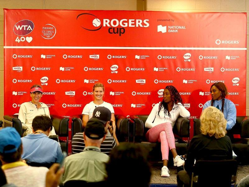 Monica Seles, Eugenie Bouchard, Venus Williams and Serena Williams talk to the media before their exhibition doubles match on day 1 of the Rogers Cup Toronto at Rexall Centre at York University in Toronto, Canada. (AFP photo)