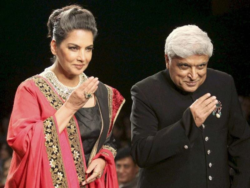 Actress Shabana Azmi and lyricist Javed Akhtar walk the ramp during the India International Jewellery Week in Mumbai. (PTI Photo)