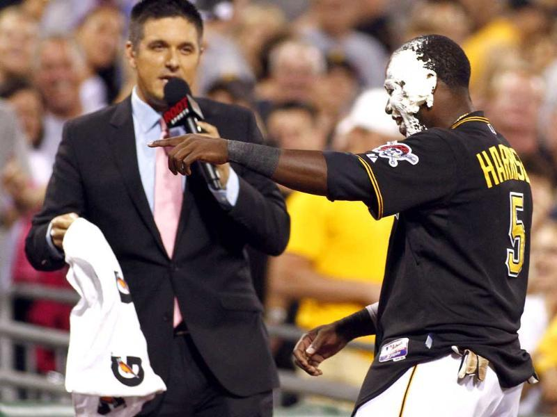 Josh Harrison of the Pittsburgh Pirates gets a pie in the face after hitting a walk off home run against the Miami Marlins in Pittsburgh, US.(Getty Photo)