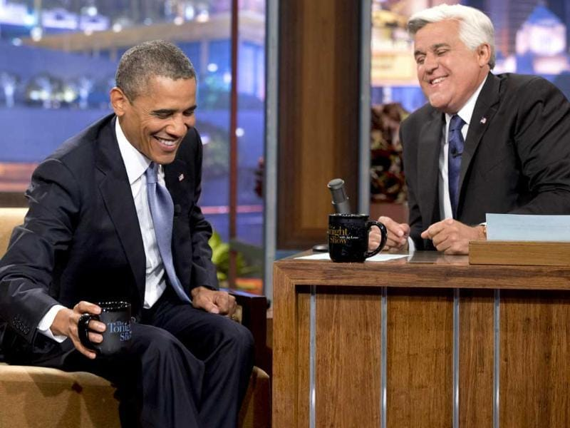 "US President Barack Obama smiles as he talks with Jay Leno on ""The Tonight Show with Jay Leno"" in Los Angeles. (AP Photo)"