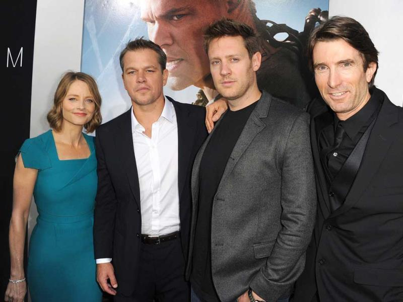 Actors Matt Damon, Jodie Foster, director Neill Blomkamp and Sharlto Copley attend the premiere of TriStar Pictures' Elysium at Regency Village Theatre in Westwood, California. AFP photo