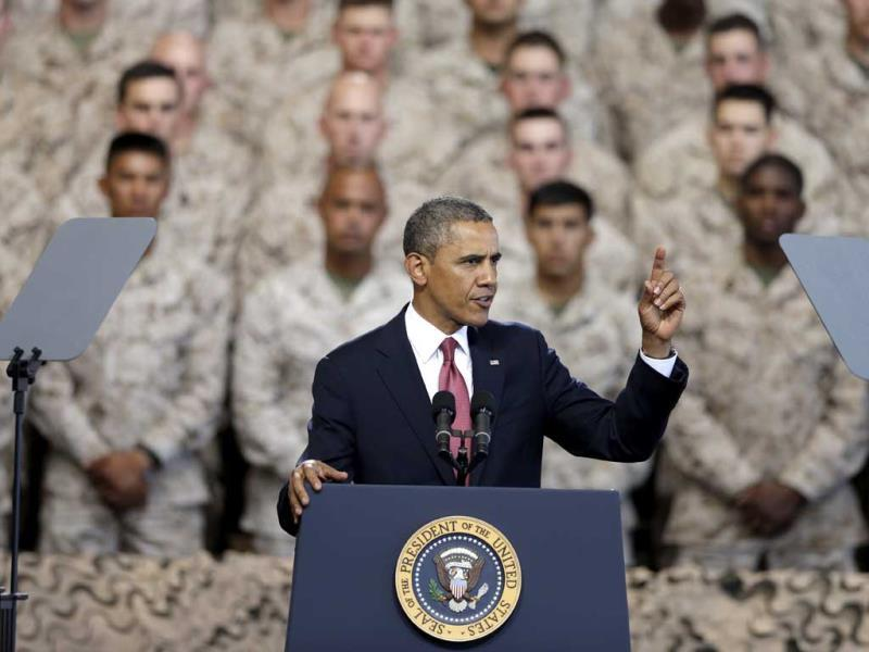 President Barack Obama speaks in front of Marines at Camp Pendleton, California. (AP Photo)