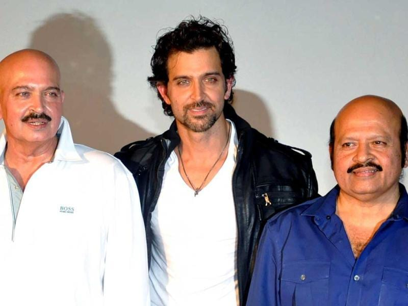 Family time at the launch: Hrithik Roshan, Rakesh Roshan and Rajesh Roshan pose for shutterbugs.